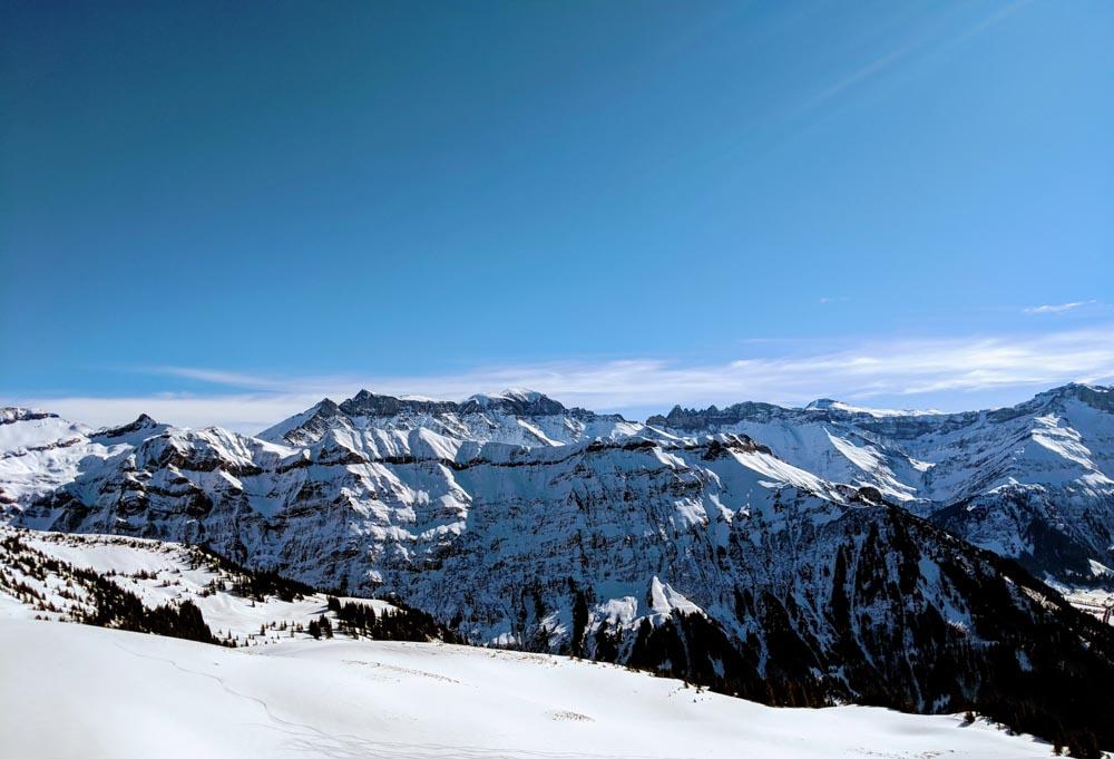 Snowshoe Hike Glarus Mattdorf  near Zurich