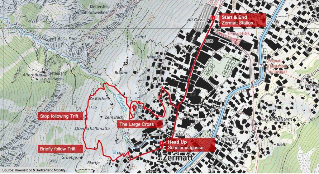 Easy Zermatt Town Cross Hike Route Map