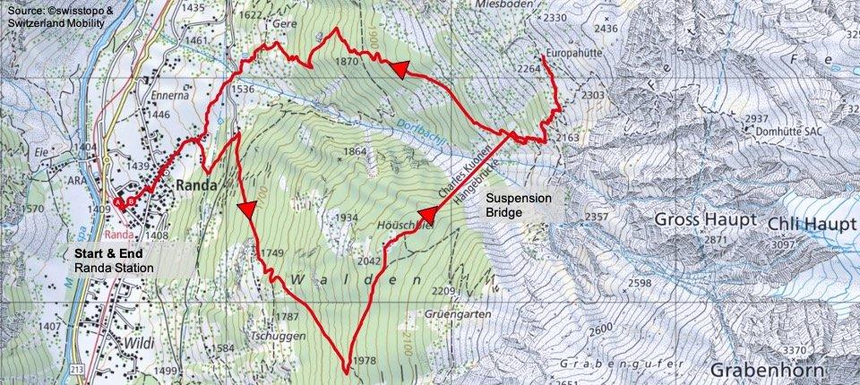 Randa Suspension Bridge Map