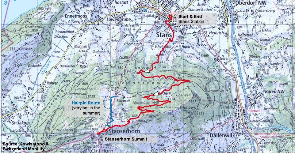 Stanserhorn Route Map