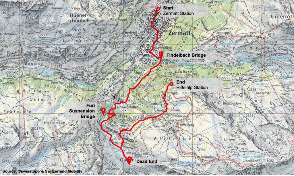 Map Gornera Valley Hike Zermatt