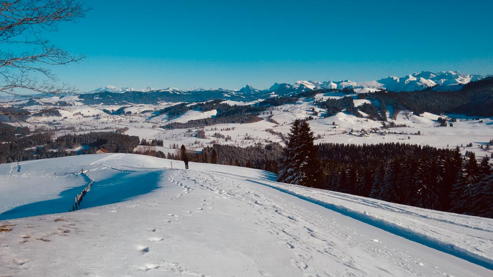 Raten to Roggenthurm_Ratengütsch snowshoe_hike_Einsiedeln