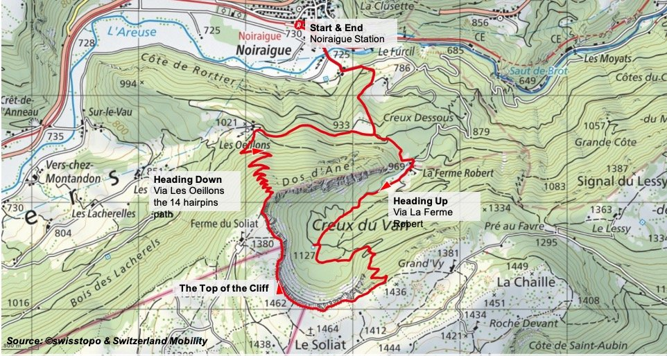 Creux du Van_Route_Map