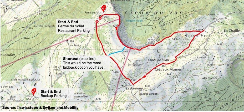 Creux du Van_Easy Route_Map